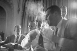 GOP Politicians Gather in Smoke-Filled Backrooms (Black and White)