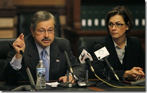 Iowa Governor Terry Branstad and Lt. Governor Kim Reynolds speak to members of the press.