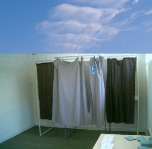 Voting Booth Under Blue Sky