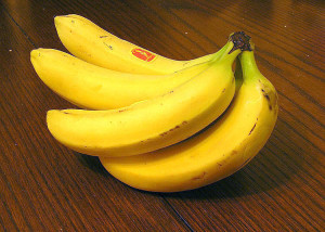 A bunch of yellow bananas.