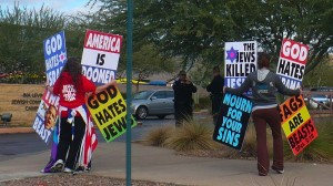 A typical Westboro Baptist Church Protest