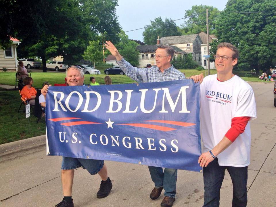 Rod Blum walking in the Gladbrook Corn Carnival parade on 6/27/14. Photo credit: Rod Blum for Congress