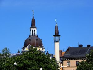 Katarina Church and the minaret of the Stockholm Mosque in Stockholm, Sweden (Public Domain)
