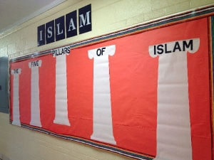 Wichita, KS elementary school parents were shocked to discover a giant wall display inside the building promoting the five pillars of Islam.
