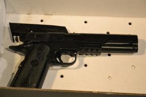 Tamir Rice's airsoft gun minus orange tip. Photo credit: Cory Shaffer, Northeast Ohio Media Group