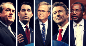 The 2016 Iowa Caucus Top 5 From left: Mike Huckabee, Scott Walker, Jeb Bush, Rand Paul and Ben Carson Photo credit: Gage Skidmore (CC-By-SA 2.0)