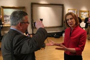 Shane talks to Carly Fiorina at the Iowa Freedom Summit. Photo credit: Dave Davidson - Prezography.com