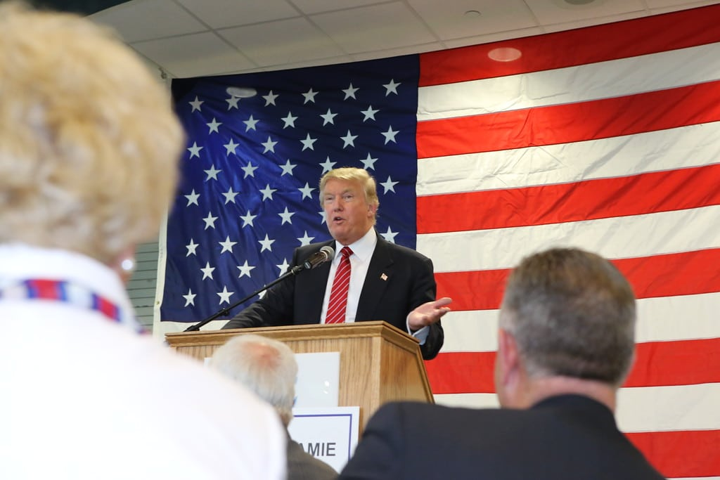 Donald Trump at Pottawattamie County GOP Dinner on 5/15/15. Photo credit: Dave Davidson (Prezography.com)