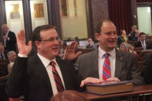 State Senator Mark Chelgren (Right) taking oath of office with State Senator Bill Dix.