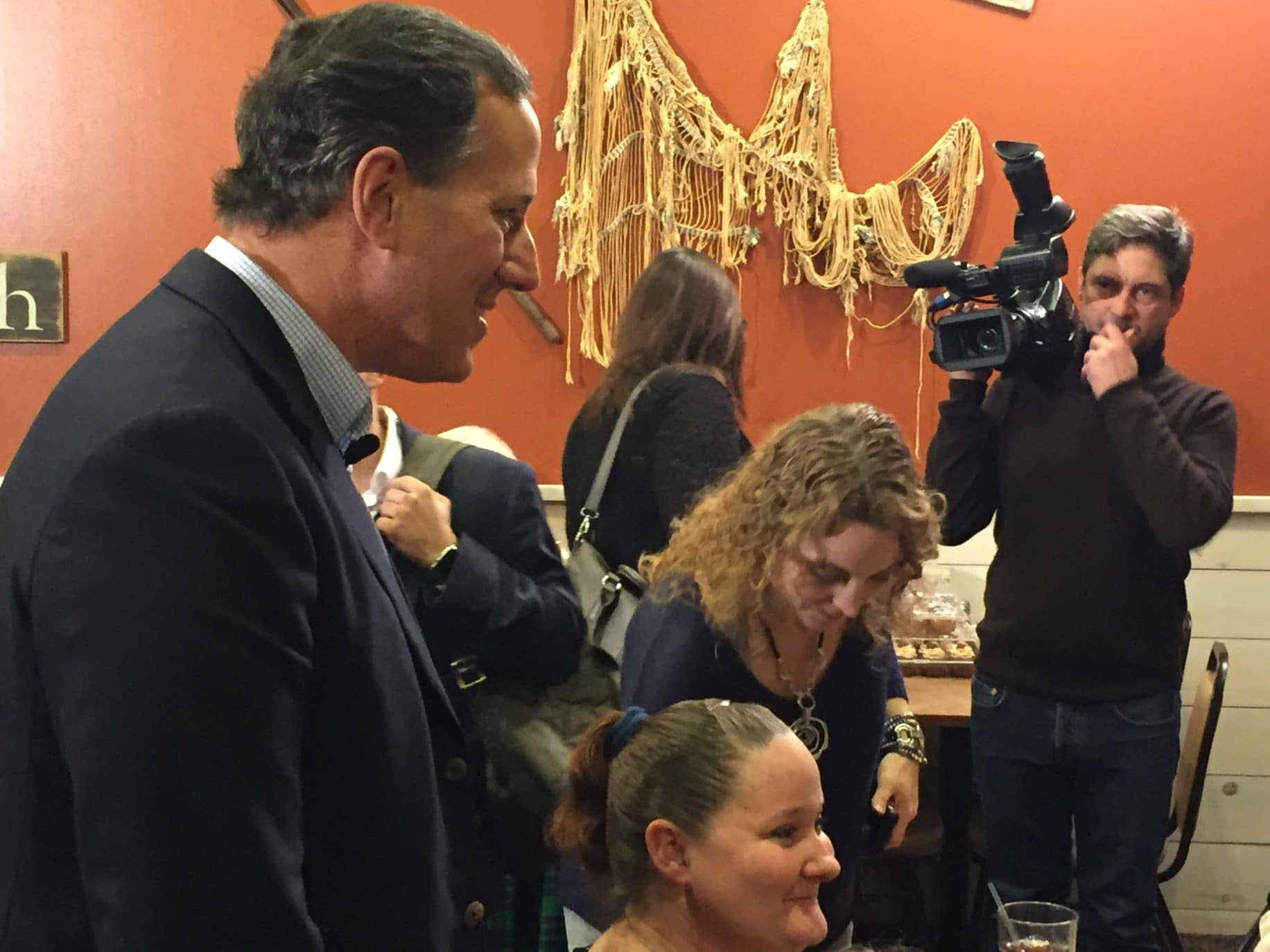 Rick Santorum campaigns at Pizza Ranch in Indianola, IA.