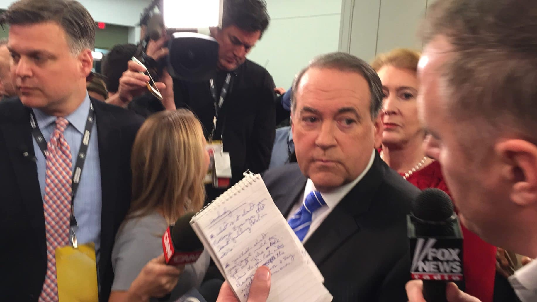 Mike Huckabee in spin room at the FNC/Google GOP Presidential Debate in Des Moines, IA.
