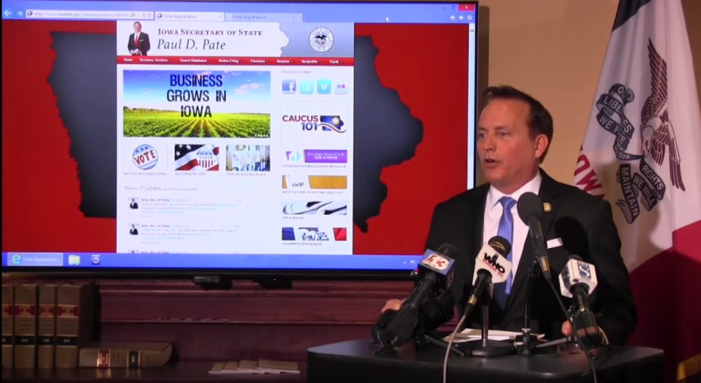 Iowa Secretary of State Paul Pate explains the new online voter registration process.