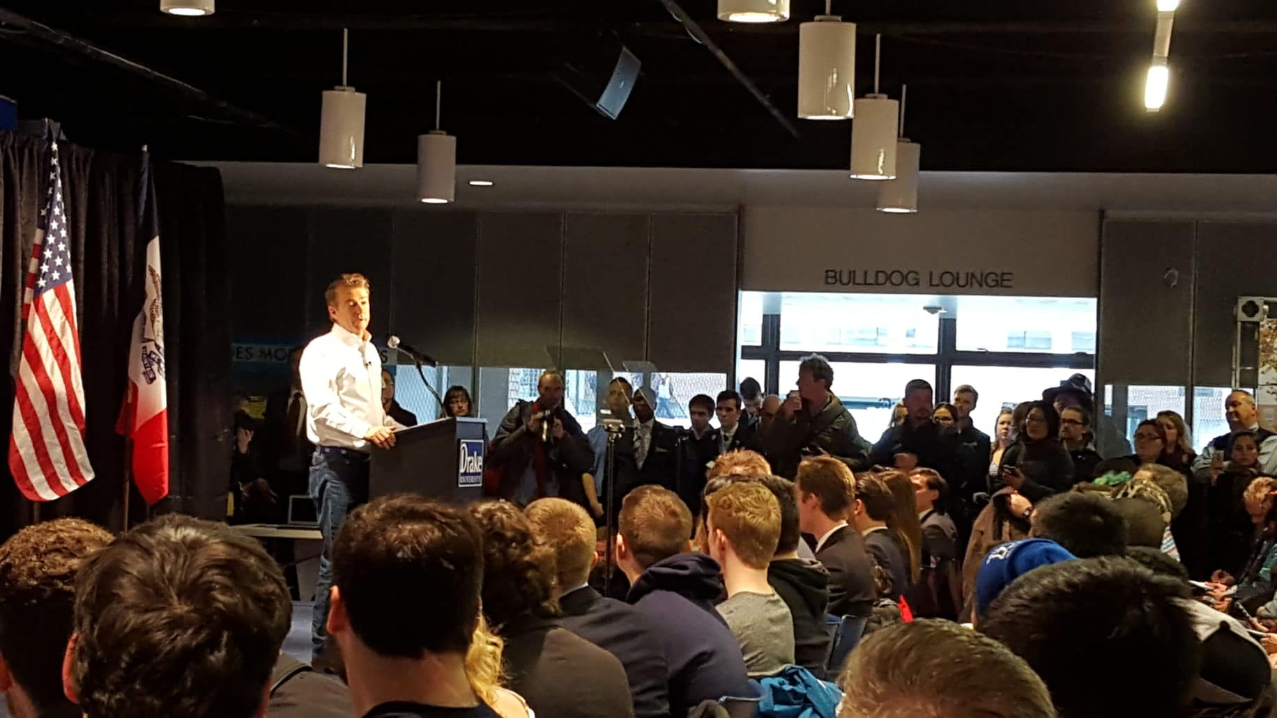U.S. Senator Rand Paul (R-KY) at Drake University in Des Moines. Photo credit: Anita Morill