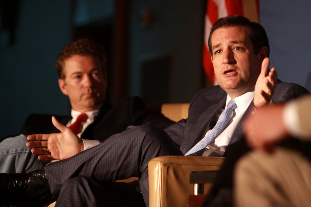 Senators Rand Paul and Ted Cruz speaking at the 2013 Young Americans for Liberty National Convention . Photo credit: Gage Skidmore