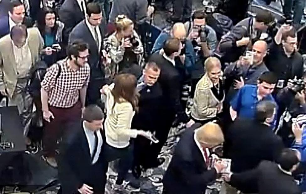 Corey Lewandowski is seen grabbing the arm of reporter Michelle Fields in this still frame from video