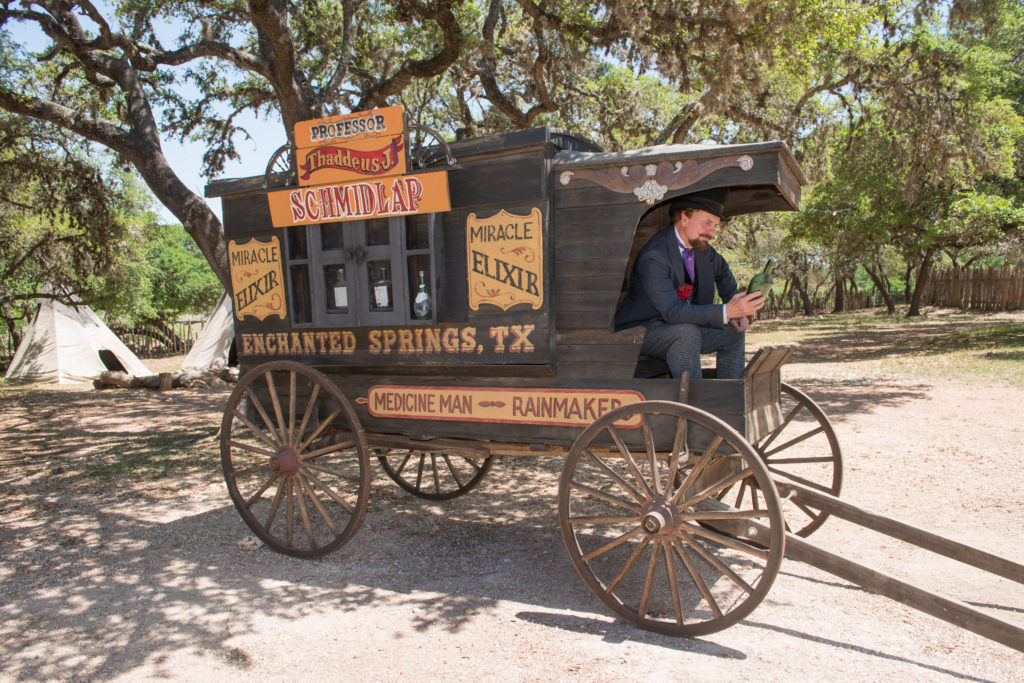 Professor Thaddeus Schmidlap: the resident snake-oil salesman at the Enchanted Springs Ranch and Old West theme park