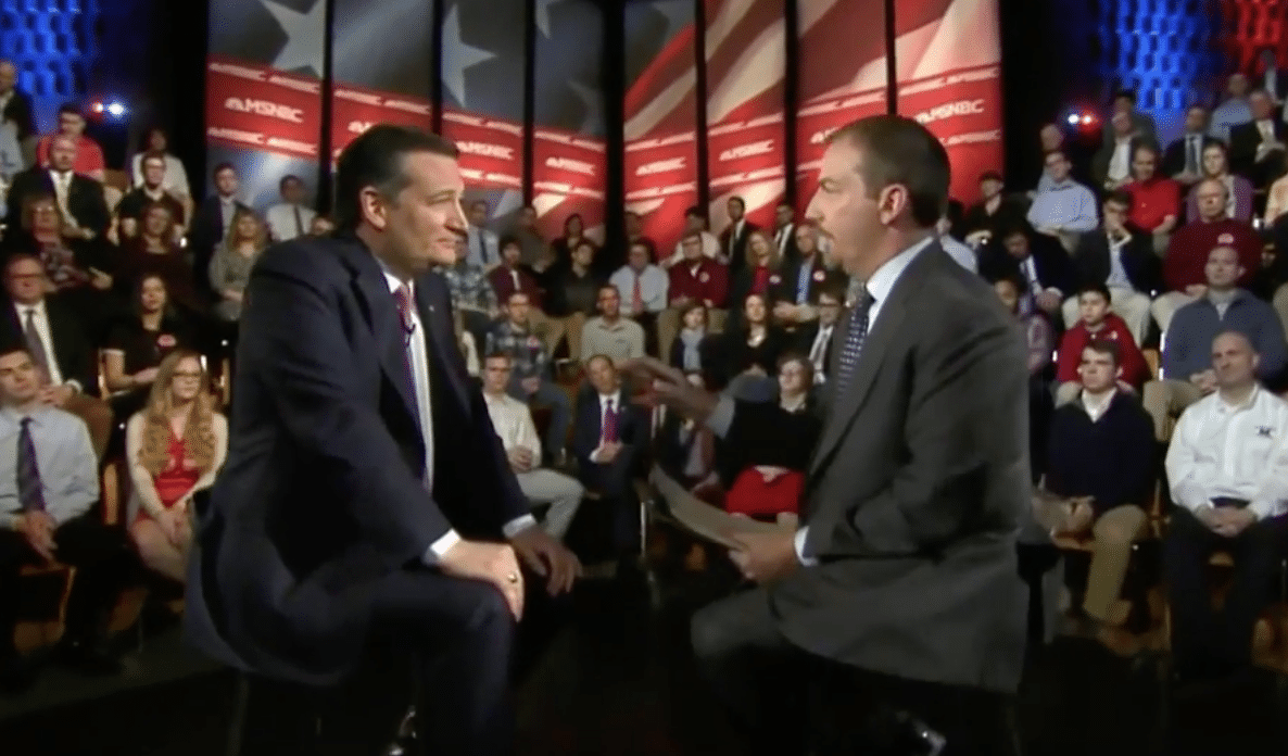 Ted Cruz interviewed by MSNBC's Chuck Todd during a town hall in New York.