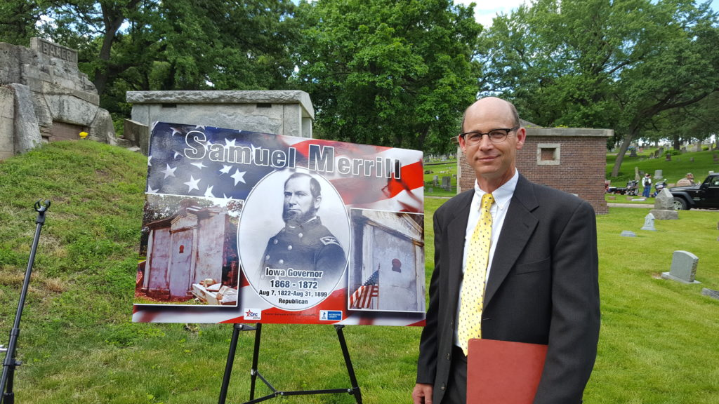 Jonas Cutler led the movement to restore Samuel Merrill's mausoleum.  Photo credit: Anita Morrill