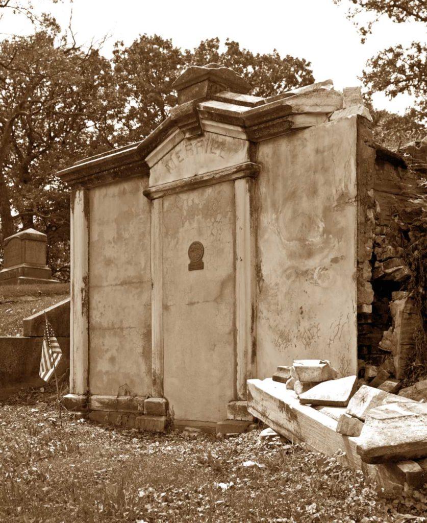 Governor Samuel Merrill's mausoleum before the restoration.
