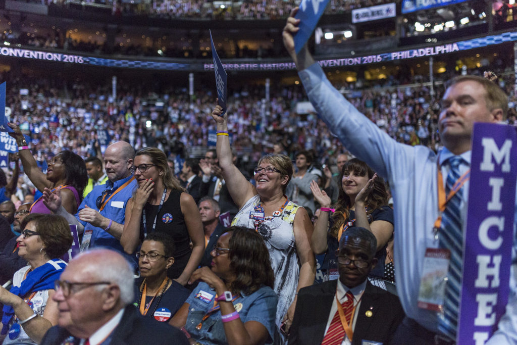 Democrats await First Lady Michelle Obama's speech at the 2016 Democratic National Convention Photo credit: Democratic National Committee