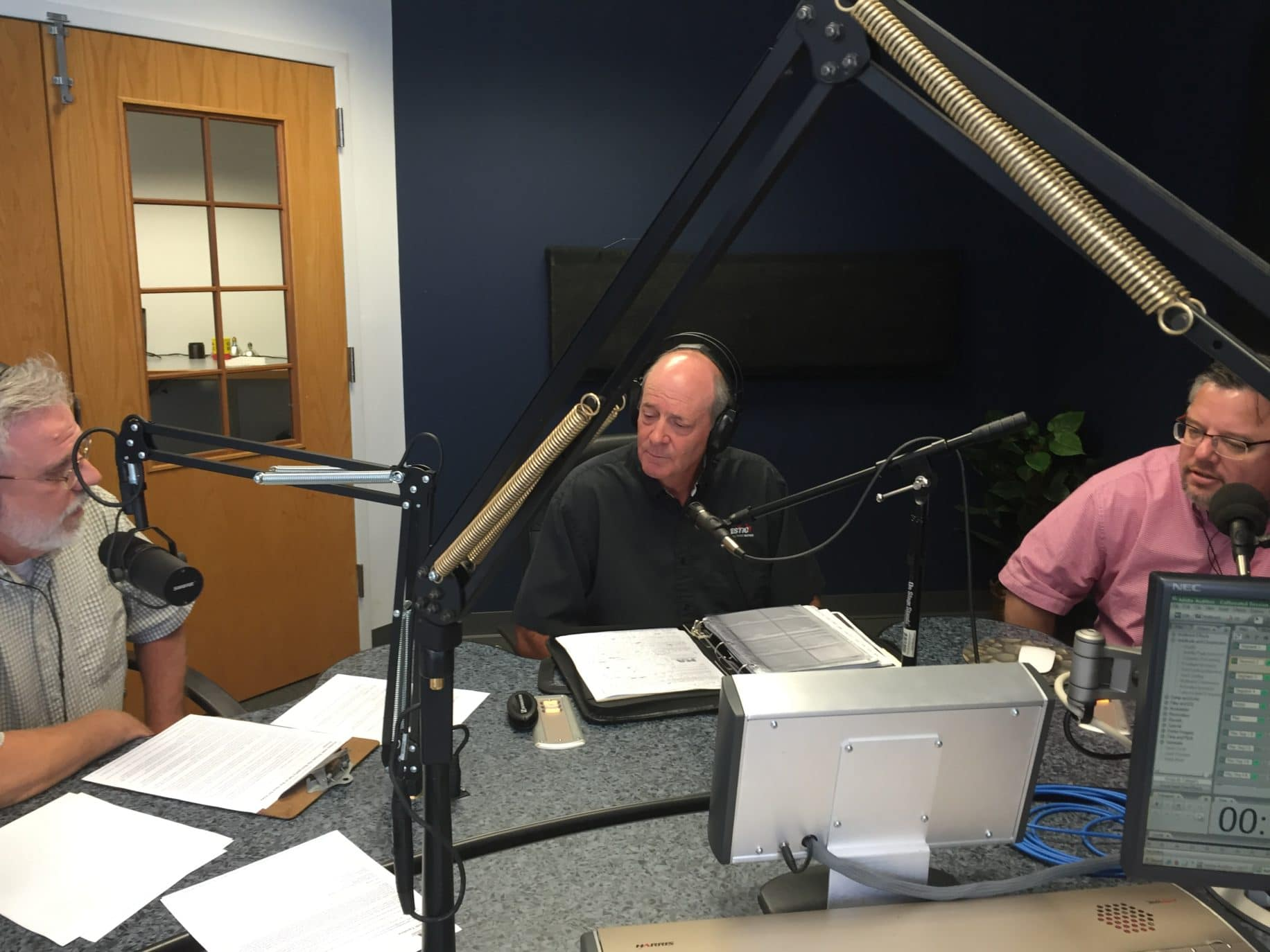 Brian Myers, guest Mike Knox, and Shane Vander Hart in the 99.3fm The Truth's studio. Photo credit: Ron Carlson