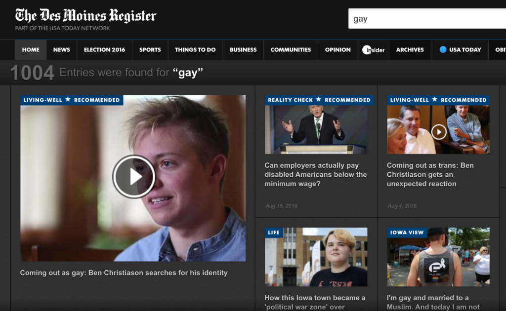"Des Moines Register - Search for ""Gay"""