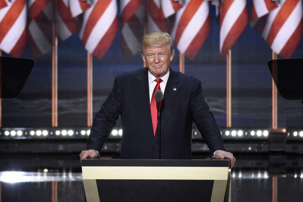 Donald Trump speaks on the final night of the Republican National Convention in Cleveland. Photo credit:ABC/ Ida Mae Astute (CC-By-ND 2.0)