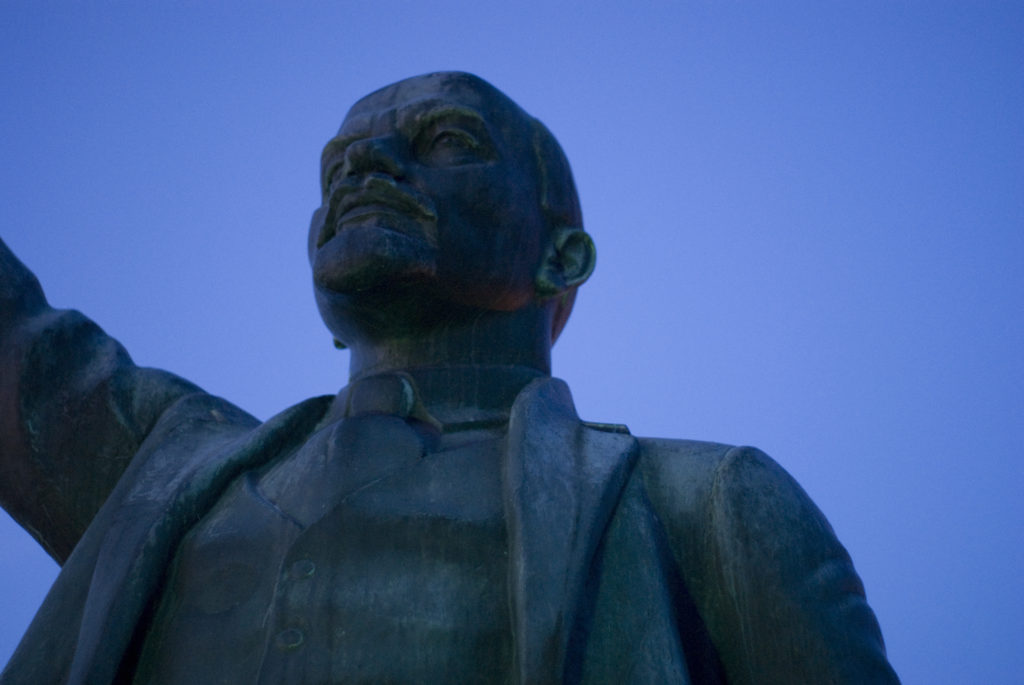 A statue of Lenin, leader of the Russian anti-establishment movement.