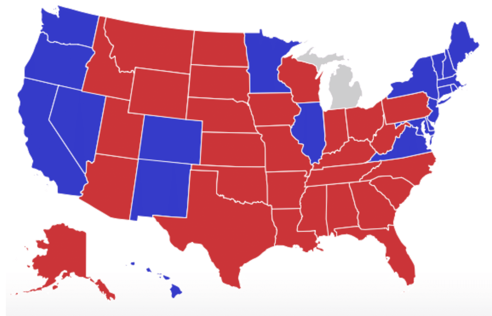 The Electoral Map as it stands now. Trump currently leads Michigan, but it won't be called until the Michigan Secretary of State certifies the vote.