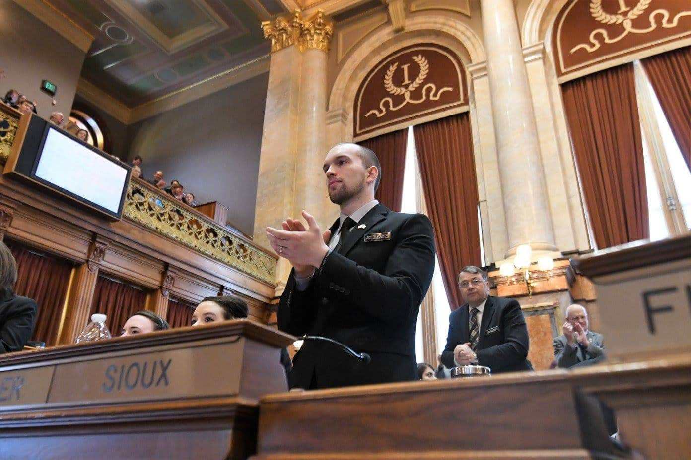 State Representative Skyler Wheeler (R-Orange City) on Opening Day 2017 in the Iowa House.