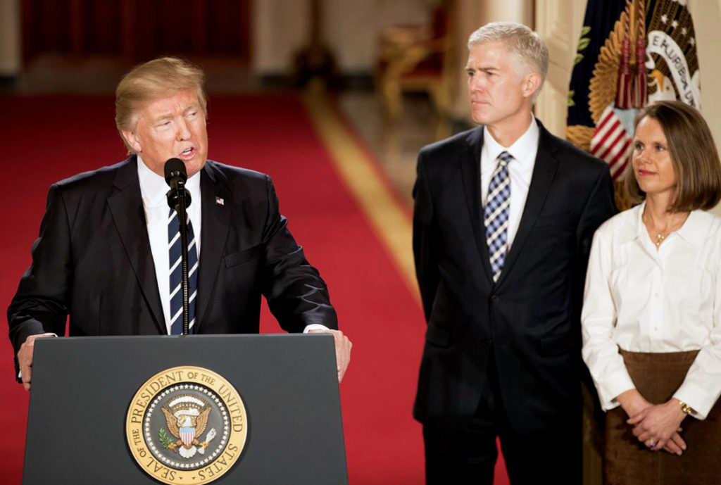 President Donald Trump announces his nomination of Neil Gorsuch to the Supreme Court.