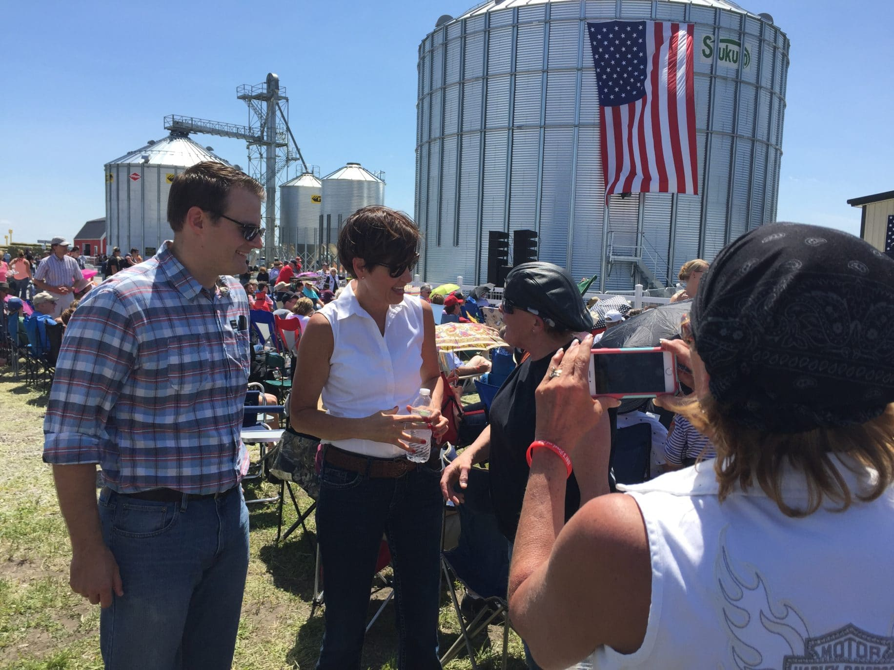 Iowa Lt. Governor Adam Gregg and Governor Kim Reynolds talk to Iowa Republicans at the 3rd Annual Roast and Ride.