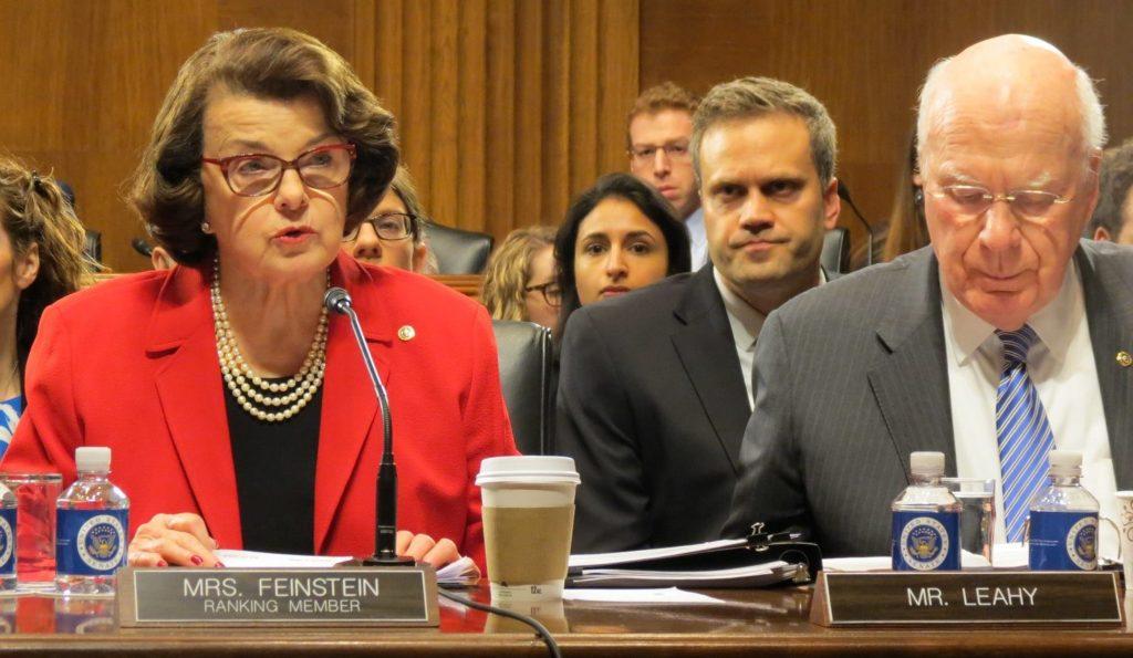 U.S. Senator Dianne Feinstein (D-CA), Ranking member of the Senate Judiciary Committee, next to U.S. Senator Patrick Leahy (D-VT).