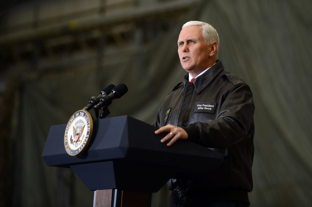 Vice President Mike Pence speaks during a visit to Bagram Airfield in Afghanistan in 2017.