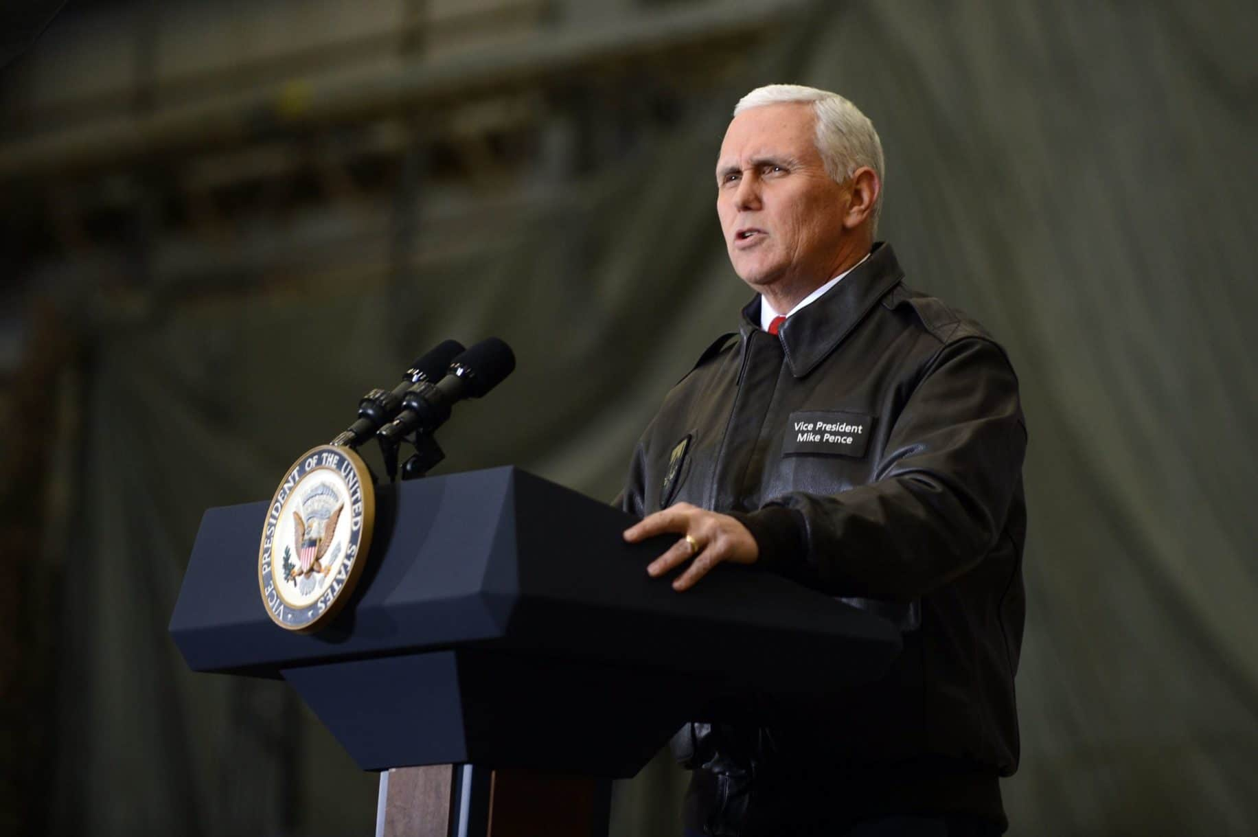 Vice President Mike Pence speaks during a visit to Bagram Airfield in Afghanistan in 2017.